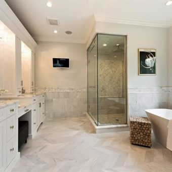 Newstone granite countertops chicago in bathroom